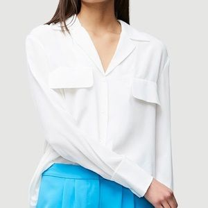 Frame Pocket Silk Blouse in White Size Small New